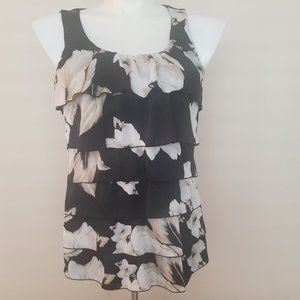 WHBM Floral Layered Sleeveless Top Size Large